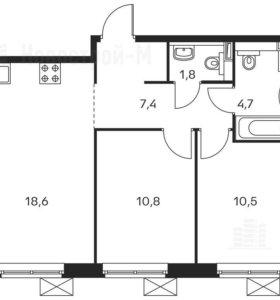 Квартира, 2 комнаты, 53.8 м²