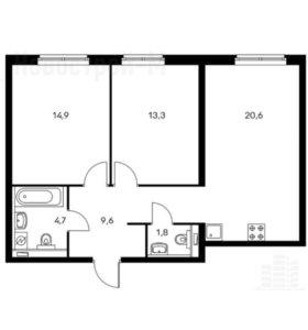 Квартира, 2 комнаты, 64.9 м²
