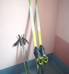 Лыжи детские на 150+палки+ботинки 33р-р