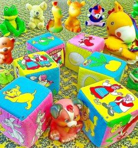 Игрушки малыша кубики игра гномы паровоз изба утки