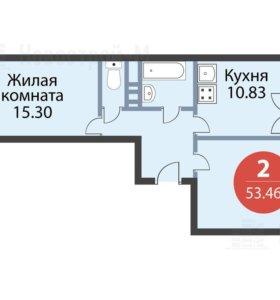 Квартира, 2 комнаты, 53.4 м²