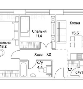 Квартира, 2 комнаты, 60.1 м²