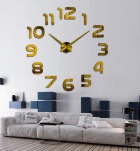 Новые 3d огромные интерьерные часы, под золото