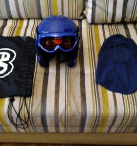 Горнолыжный шлем, очки, подшлемник