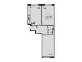Квартира, 2 комнаты, 65.2 м²
