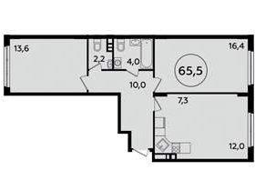 Квартира, 2 комнаты, 65.5 м²