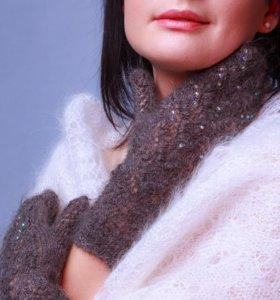 Оренбургские пуховые варежки из козьего пуха