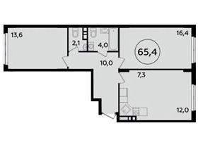 Квартира, 2 комнаты, 65.4 м²