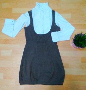 Комплект (сарафан и блузка) женский, размер 44