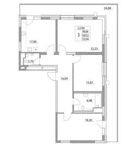 Квартира, 3 комнаты, 109.5 м²