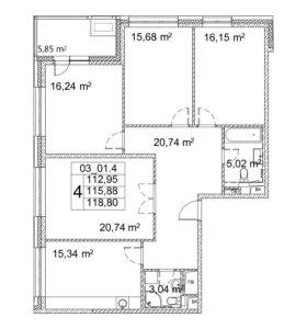 Квартира, 4 комнаты, 115.8 м²