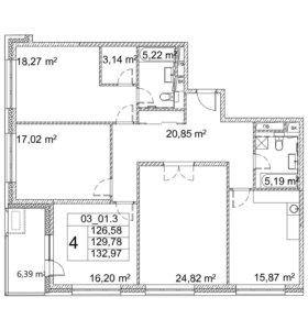 Квартира, 4 комнаты, 129.7 м²