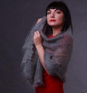 Оренбургский пуховый платок палантин новый серый