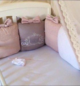 Бортики на кроватку Satin-Premium