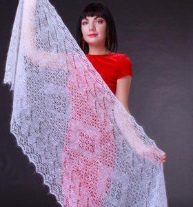 Оренбургский пуховый платок палантин ручной работы