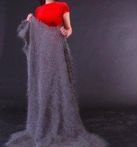 Оренбургский пуховый платок плед шаль ручная серая
