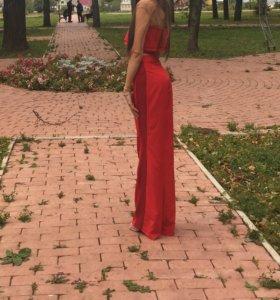 Вечерний красный костюм комплект брюки топ выпуск