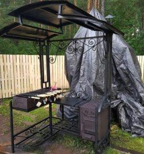 Мангал + печь с элементами ковки