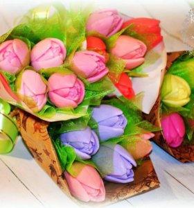 Мыльный букет тюльпанов
