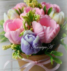 Букеты из мыльных цветов 8 марта