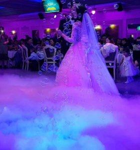 Тяжелый дым. Низкий дым. Дым на свадьбу. Туман.