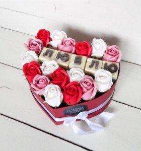 Мыльные розы, цветы в коробке, шоколад буквы
