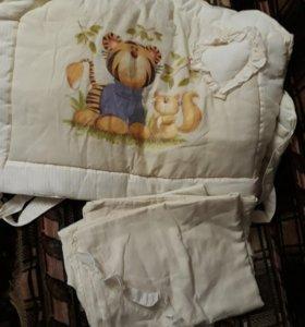 Бортик+ постельное белье и тонкое одеяло подарок
