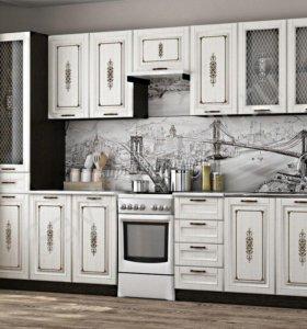 Кухня Велес 2,4 б/с, б/м (Сандал белый)