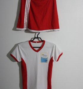 Костюм спорт-шик. Футболка и юбка-шорты(потайные).