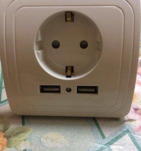 Продам розетку с двумя входами USB