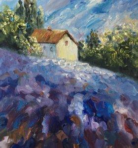 Картина маслом «Дом на лавандовом поле»