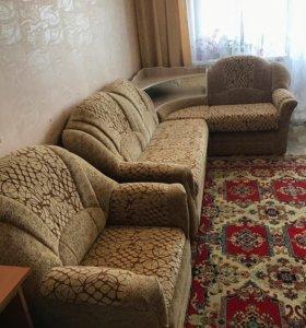 Диван с барным уголком + кресло-кровать б/у