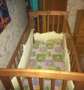 Кроватка детская+матрас.