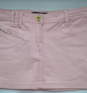 Джинсовая розовая мини юбка