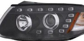 Фара правая под корректор внутри черная (Китай) на Хендай Санта Фе 2 поколение / 2 поколение рестайлинг / Hyundai Santa Fe - 2 поколение / 2 поколение рестайлинг (2006-2011)