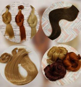 Натуральные и искусственные волосы на заколках
