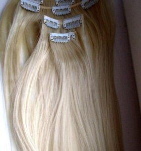 Волосы на заколках 70см блонд