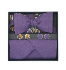 Набор (галстук-бабочка, платок, запонки)