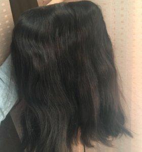 Густая прядь волос на заколках (тёмный шоколад)
