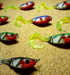 🐟 Набор поролоно-силиконовых рыбок 8см джиг 🐟