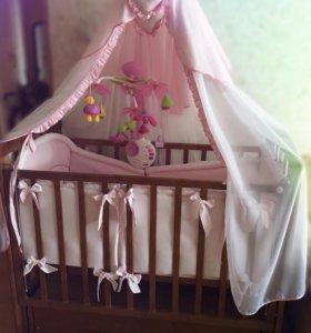 Детская кровать Можга + матрас + текстиль