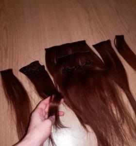 Экстеншены ( волосы на заколках) натуральные