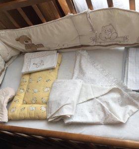 Бортик мазакея и комплект постельного белья