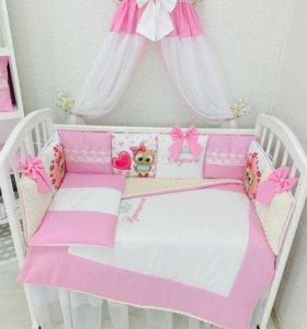 Новый комплект совушки бортики набор в кроватку