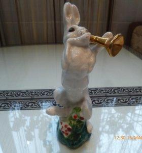 фарфоровая статуэтка ЛФЗ заяц с трубой