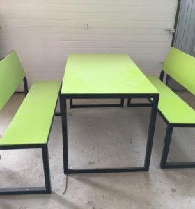 Новый стол со скамейками