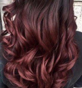 Волосы славянские на капсулах 50см омбре бордо