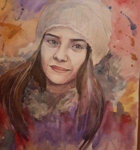 Портреты акварель и карандаш