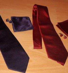 Галстук, запонки, платок. Новый Набор