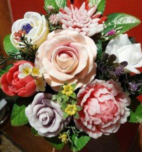 Букет из мыльных роз и цветов ручной работы